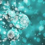 Esfera do Natal sobre o bokeh da luz do fulgor.   ilustração do vetor