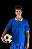 Esfera do whit do jogador de futebol Fotografia de Stock Royalty Free