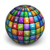 Esfera dos ícones da aplicação da cor ilustração stock