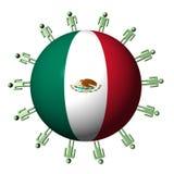 Esfera dos povos e da bandeira mexicana ilustração royalty free