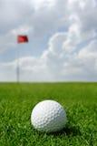 Esfera e bandeira de golfe Imagens de Stock