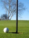 Esfera e bandeira do campo de golfe Foto de Stock Royalty Free