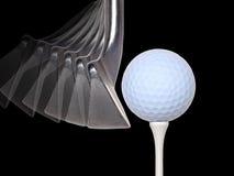 Esfera e clube de golfe foto de stock royalty free