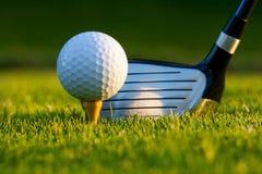 Esfera e excitador de golfe no campo de golfe imagens de stock royalty free