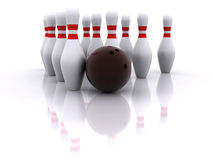 Esfera e pinos de bowling Fotografia de Stock