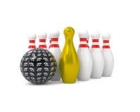 Esfera e pinos de bowling isolados no branco Imagem de Stock