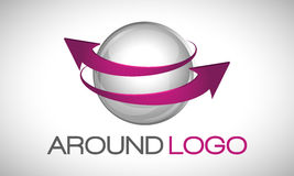 Esfera e setas do logotipo Imagens de Stock