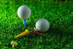 Esfera e T de golfe na grama fotos de stock royalty free