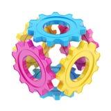 Esfera hecha de los engranajes de la rueda dentada aislados ilustración del vector