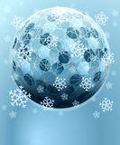 Esfera hexagonal del invierno azul con la tarjeta de la nieve Imágenes de archivo libres de regalías