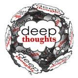 Esfera importante profunda de la nube de las ideas de los pensamientos profundos Imagen de archivo libre de regalías