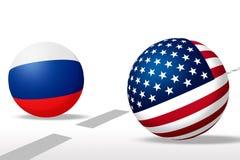 Esfera los E.E.U.U. y bandera rusa Fotos de archivo
