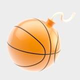 Esfera lustrosa do basquetebol como uma bomba se isolou Fotos de Stock Royalty Free