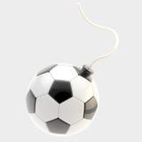 Esfera lustrosa do futebol como uma bomba se isolou Fotografia de Stock