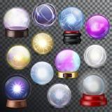 Esfera mágica del cristal del vector mágico de la bola y orbe transparente del relámpago brillante como ejemplo del adivino de la libre illustration
