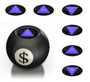 A esfera mágica do dinheiro prevê o futuro Foto de Stock Royalty Free