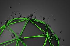 Esfera negra polivinílica baja con la estructura caótica Imagen de archivo libre de regalías