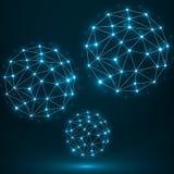 Esfera poligonal abstrata, conexões de rede Fotografia de Stock
