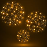 Esfera poligonal abstrata, conexões de rede Fotos de Stock