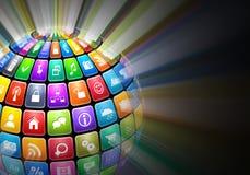 Esfera que brilla intensamente de iconos de la aplicación del color Imágenes de archivo libres de regalías