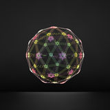 A esfera que consiste em pontos Conexões digitais globais Grade abstrata do globo Ilustração da esfera de Wireframe Grade 3D abst Imagens de Stock