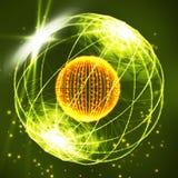 Esfera que consiste en puntos Esfera de estallido de los datos hecha de puntos y de puntos Ejemplo de la esfera de Wireframe Dise stock de ilustración
