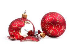Esfera quebrada do Natal Fotos de Stock Royalty Free
