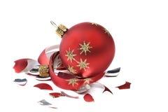 Esfera quebrada do Natal Fotografia de Stock