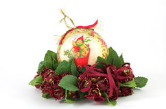 Esfera retro do Natal do ouro Fotos de Stock Royalty Free
