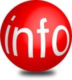 Esfera roja 3d del aqua del botón del Info Imagen de archivo libre de regalías