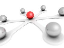 esfera roja del líder 3d de la red concep de la comunicación de la dirección Fotos de archivo libres de regalías