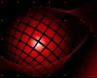 Esfera roja envuelta en una mezcla en fondo abstracto rojo oscuro Imagen de archivo libre de regalías