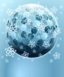 Esfera sextavada do inverno azul com cartão da neve Imagens de Stock Royalty Free