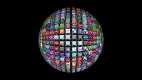 Esfera social de los iconos de la red, almacen de metraje de vídeo