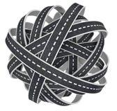 Esfera Tangled congestionada da ilustração das estradas 3D Imagem de Stock