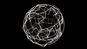 A esfera transparente ruidosa de giro sem emenda dos pontos conectou com as linhas brancas no fundo preto 4K video estoque