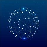 Esfera triangular do espaço cósmico azul abstrato Fotos de Stock