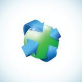 Esfera tridimensional abstracta con las flechas Fotos de archivo libres de regalías