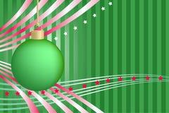 Esfera verde do Natal com listras e estrelas Imagem de Stock