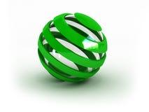 Esfera verde listrada de vidro ilustração do vetor
