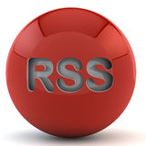 Esfera vermelha com RSS Foto de Stock
