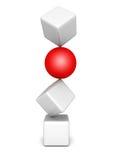 A esfera vermelha diferente para fora dos cubos brancos eleva-se pilha Fotos de Stock Royalty Free