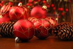 Esfera vermelha do Natal Fotos de Stock