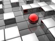 Esfera vermelha no labirinto