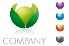 Esfera y hojas Logo Template Foto de archivo libre de regalías