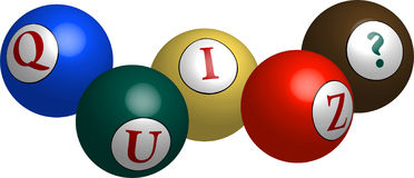 Esferas 3d coloridas que soletram para fora o ?Quiz? ilustração stock