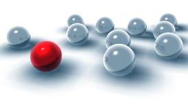 esferas 3d e esferas vermelhas de diferente Fotos de Stock