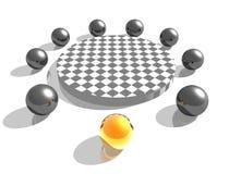 esferas 3d em torno da tabela Foto de Stock