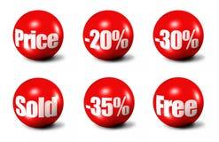 Esferas 3D vermelhas Fotos de Stock