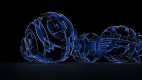 Esferas abstractas de círculos y de líneas que brillan intensamente Foto de archivo libre de regalías